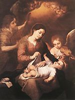 Mary and Child with Angels Playing Music, 1675, murillo