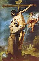 Saint Francis of Assisi embracing the crucified Christ, murillo