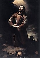 Saint Francis of Assisi at Prayer, 1645-1650, murillo