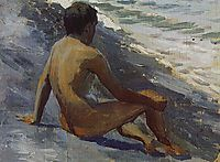 Boy at the seashore, 1895, musatov