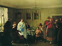 Congratulation of betrothed in landlord-s house, 1861, myasoyedov