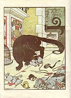 Illustration for the book -How mice buried the cat- by Zhukovsky, 1910, narbut