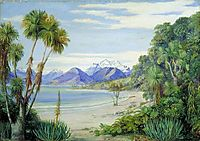 View of Mount Earnshaw from the Island in Lake Wakatipe, New Zealand, 1880, north
