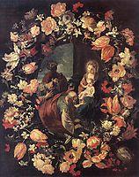 Adoración de los Magos en una guirnalda de flores, 1654, nuzzi