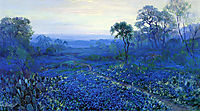 Bluebonnet Landscape with Catci, Road and Mountain Laurel, onderdonk