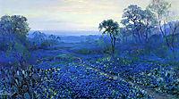 Bluebonnet Landscape with Catci, Road and Mountain Laurel, onderdonk