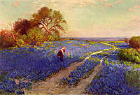 Bluebonnet Scene with a Girl, 1920, onderdonk