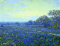 Field of Bluebonnets under Cloudy Sky, onderdonk
