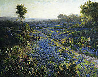 Field of Texas Bluebonnets and Prickly Pear Cacti, onderdonk