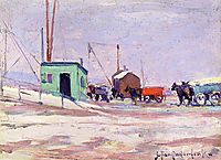 Noontime on the Docks, Hudson River and 85th Street, onderdonk