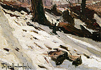 Snow near the Cave, Central Park, New York, 1902, onderdonk