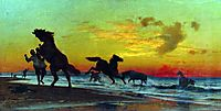 Bathing horses, orlovsky