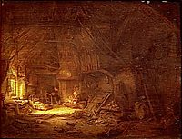 Cottage Interior with a Family around the Hearth, 1642, ostadeadriaen