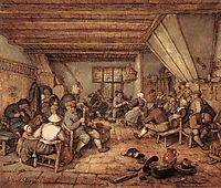 Feasting Peasants in a Tavern, 1673, ostadeadriaen