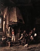 Interior of a Farmhouse with Skaters, 1650, ostadeadriaen