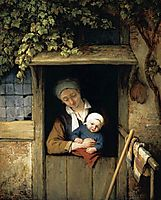 Mother Holding Her Child in a Doorway, 1667, ostadeadriaen