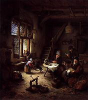 Peasant Family in a Cottage Interior, 1661, ostadeadriaen