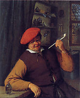 A Peasant in a Red Beret Smoking a Pipe, 1646, ostadeadriaen