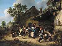 Peasants Carousing and Dancing outside an Inn, 1660, ostadeadriaen