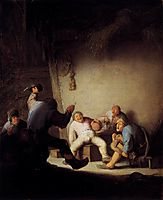 Peasants Drinking and Making Music in a Barn, c.1635, ostadeadriaen