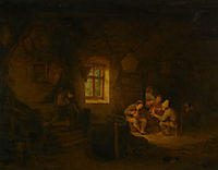 A Tavern Interior with Peasants Drinking Beneath a Window, 1653, ostadeadriaen