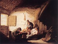 Village Tavern with Four Figures, 1635, ostadeadriaen