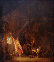 A Barn Interior with a Slaughtered Pig, Children Playing Beyond , 1645, ostadeisaac