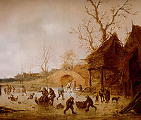 A Winter Landscape with Skaters, Children Playing Kolf and Figures with Sledges on the Ice near a Bridge, ostadeisaac