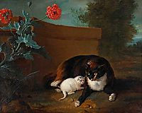 Chatte et chaton, et Chien et perroquet, 1737, oudry