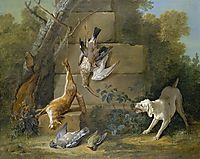 Dog Guarding Dead Game, 1753, oudry