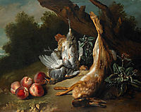 Still Life with Dead Game and Peaches in a Landscape, 1727, oudry