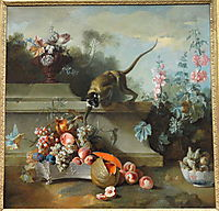 Still Life with Monkey, Fruits, and Flowers, 1724, oudry