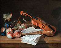 Still Life with a Violin, a Recorder, Books, a Portfolio of Sheet of Music, Peaches and Grapes on a Table Top, oudry
