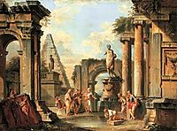 A capriccio of classical ruins with Diogenes throwing away his cup, 1729, panini