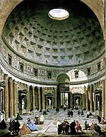 The interior of the Pantheon (Rome), panini
