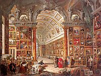 Interior of a Picture Gallery with the Collection of Cardinal Silvio Valenti Gonzaga, 1740, panini
