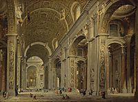 Interior of St Peter-s in Rome, 1750, panini