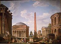 Roman Capriccio: The Pantheon and Other Monuments, 1735, panini