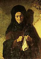 Woman knitting , pantazis