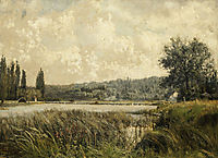 Landscape with a tributary of the Seine, near Paris, 1872, pantazis