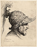 Helmet crossed with curved strips and rosettes, parmigianino