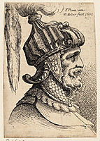 Helmet with long plume and chin strap, parmigianino
