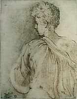 Young man seen from behind, face in profile, parmigianino