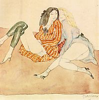 Two Girls on the Ground, 1909, pascin