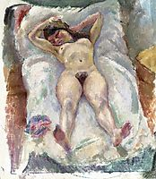 Woman Lying Down with Her Arms Raised, 1907, pascin