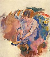 Young Woman Putting on Her Socks, 1916, pascin