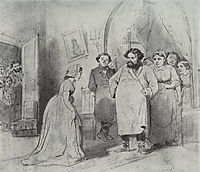 The arrival of a governess in a merchant-s house , 1866, perov