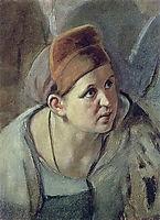 Bent figure of a woman , perov