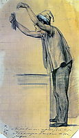 Boy with raised hands, reaching out to the public , 1864, perov