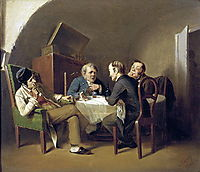 The conversation at the round table , 1866, perov